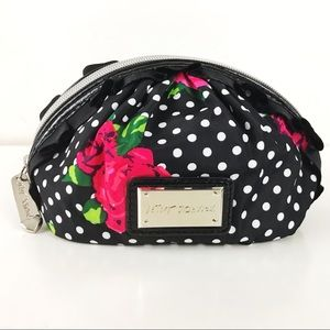 Betsy Johnson Polka Dot Rose Cosmetic Pouch Bag